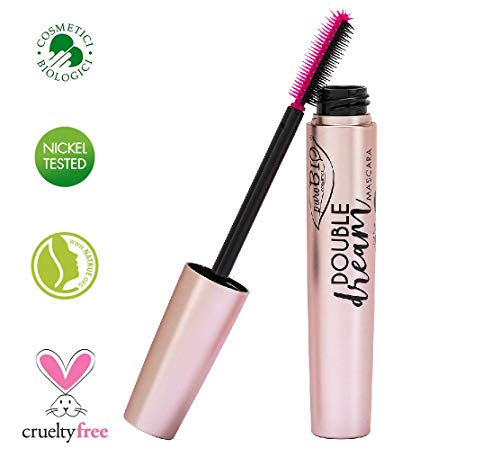 PuroBIO Certified ORGANIC ALL-IN-ONE Volumizing, Lengthening and Nourishing DOUBLE DREAM Mascara with Castor, Jojoba, Argan Oil, Vitamins. ORGANIC.NICKEL TESTED. CRUELTY-FREE. MADE IN ITALY