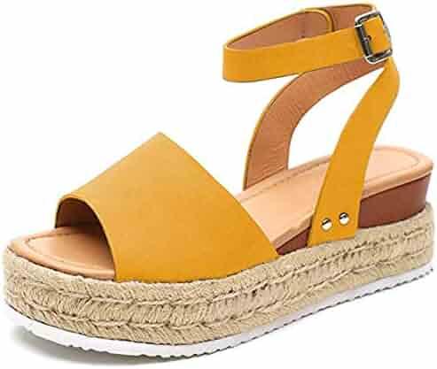 087d113285 YYW Sandals for Women, Open Toe Ankle Strap Trendy Espadrille Platform  Sandals Flats