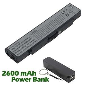 Battpit Bateria de repuesto para portátiles Sony VAIO VGN-NR410E (4400 mah) con 2600mAh Banco de energía / batería externa (negro) para Smartphone