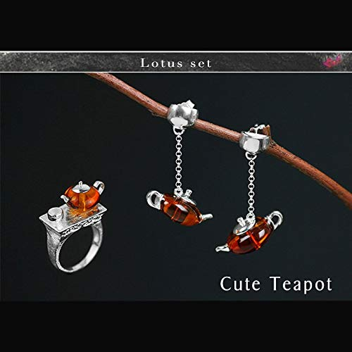 LTH12 Jewelry Sets - Real 925 Sterling Silver Natural Amber Original Handmade Fine Jewelry Cute Teapot Jewelry Set with Ring Dangle Earring 1 ()