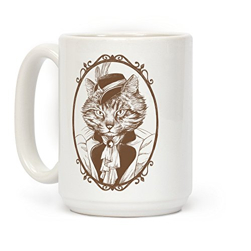 LookHUMAN Victorian Portrait of Cat Lady White 15 Ounce Ceramic Coffee Mug