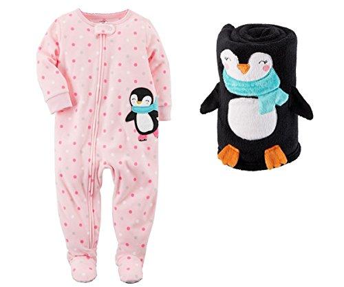 Carters Baby Girls Christmas Fleece Footed Sleeper With Roll Blanket (Light Pink Dot Penguin, 12 ()
