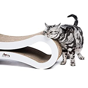 Cat Scratcher Lounge -- Heavy Duty Corrugated Cardboard Modern Cat Furniture Keeps Your Cats Healthy and Entertained. The Best Cat Scratcher Built to Last By Cat Rule One