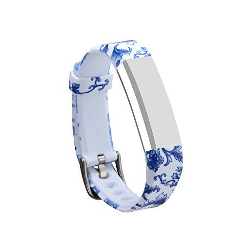 I-SMILE Newest Replacement Wristband with Secure Clasps for Fitbit Alta Only(No Tracker, Replacement Bands Only) (Blue and White Porcelain)
