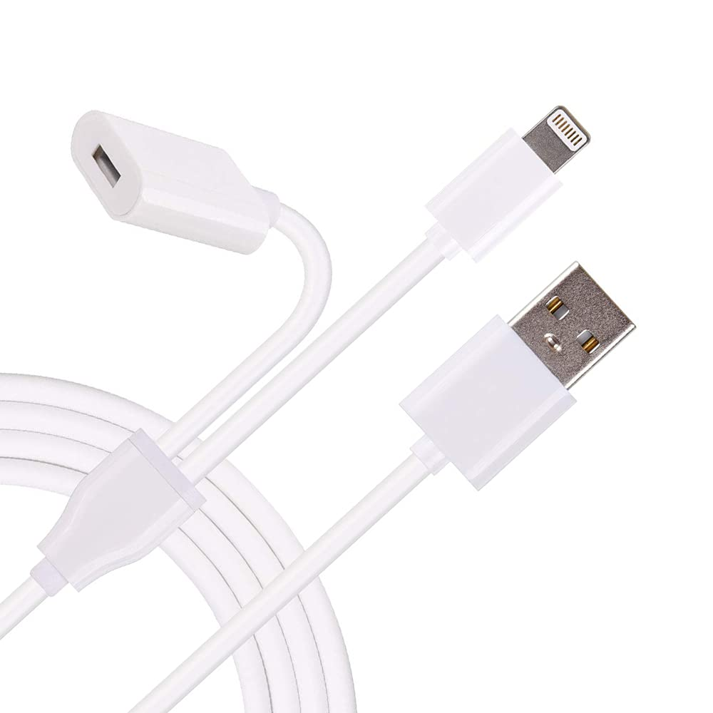 Male to Female Flexible Connector 2in1 Charging Cable, [Apple MFi Certified] Charger Adapter for Apple Pencil Adapter, Also USB Charger/Data Cable for iPhone and iPad Pro Accessories (3.3ft, White)