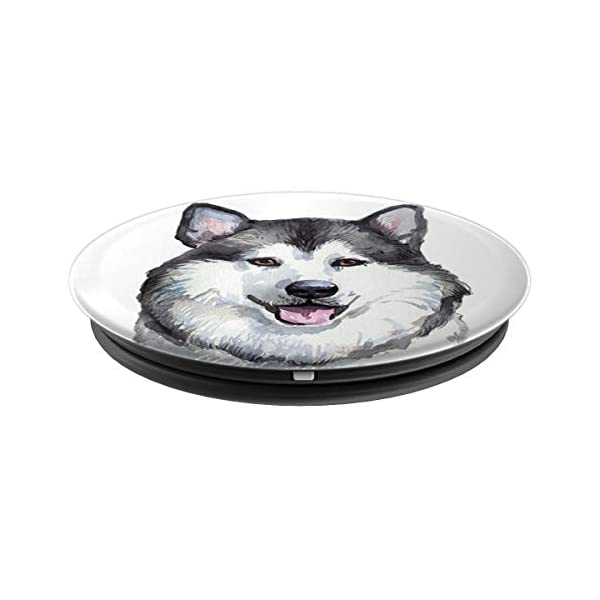 Alaskan Malamute Dog Watercolor Art Portrait Alaska Mom Dad PopSockets Grip and Stand for Phones and Tablets 2