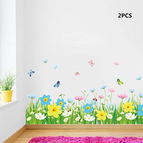 (YongPan 2PCS Floral Skirting Wall Sticker, DIY Skiting Baseboard Wall Stickers,Grass Flower Butterfly Vinyl Wall Decal (Yellow Pink Blue White))