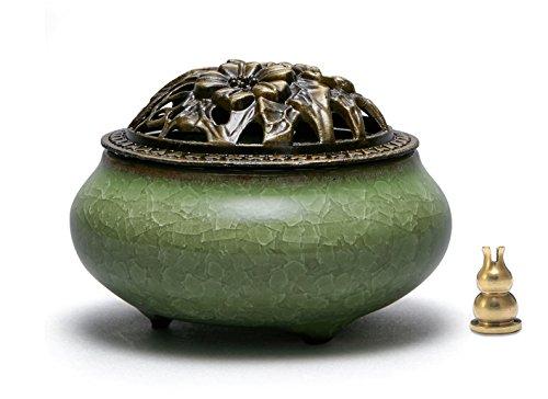 Avena Incense Burner Ceramic Cone/Coil Incense Holder Ash Catcher Tray Bowl with Incense Burner Holder Cracked glaze (Green)