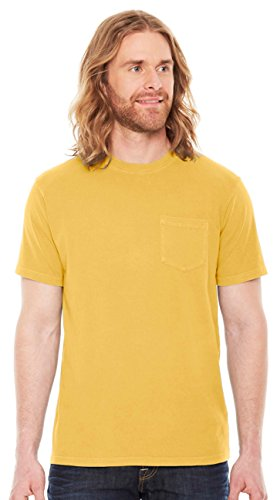 Authentic Pigment Men's Xtrafine Pocket T-Shirt, MUSTARD, (Pigment Dyed Cotton Pocket Tee)