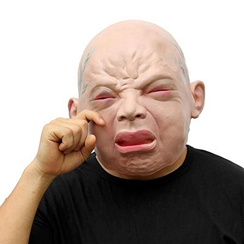AILIUJUNBING Halloween Mask Funny Party Face Masks Creepy Halloween Costume Prop Cry Baby Full Head Latex Rubber Masquerade -