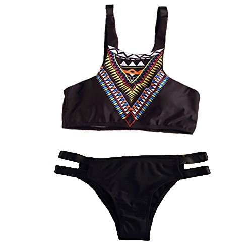 Qumei para mujer Negro Criss Cross estampado tribal bikini traje de baño Traje WM 102