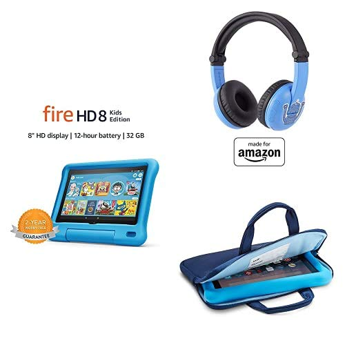 Fire HD 8 Kids Essential Bundle including Kids Fire HD 8 Tablet 32GB Blue + Playtime Bluetooth Headset (Ages 3-7) + Tablet Carrying Sleeve