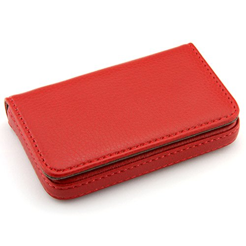 Partstock(TM) Flip Style Leather Business Name Card Wallet / Holder 25 Cards Case 4L x 2.8W inches with Magnetic Shut.(Red)