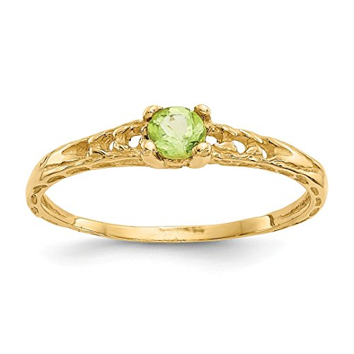 ICE CARATS 14kt Yellow Gold 3mm Green Peridot Birthstone Baby Band Ring Size 3.00 August Fine Jewelry Ideal Gifts For Women Gift Set From (Babys 14kt Gold Birthstone Ring)