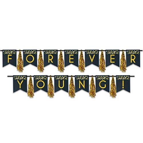 (hersrfv home Forever Young! Birthday Tassel Streamer Birthday Party Supplies and Decoration)