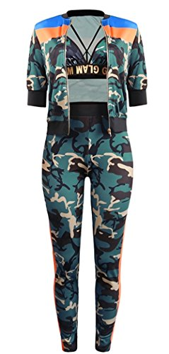 Moliry Women's 3 Piece Outfits Camo Crop Top Long Pants Rompers with Coat by Molisry (Image #3)