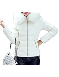 GRMO Women's Faux Fur Collar Quilted Pocket Hooded Puffer Down Jacket Coat