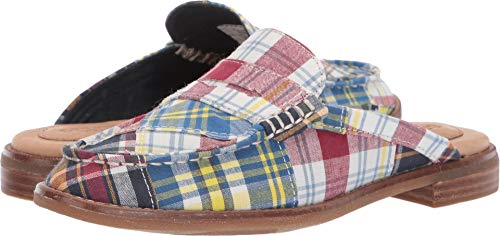 Blue Sperry Pennies (Sperry Top-Sider Seaport Penny Madras Mule Women 6.5 Navy Multi)