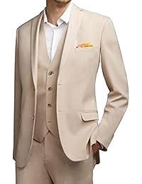 LoveeToo 3-Pieces Men Wedding Groom Tuxedos Formal Blazer Groomsmen Suit Two Buttons