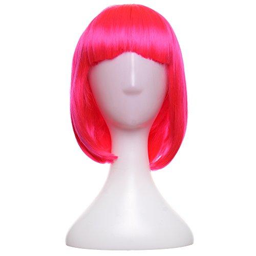 Crazy Genie Short BOB Hair Wig Cosplay Dance Party Full Wigs(Pink) (Black Genie Costume)