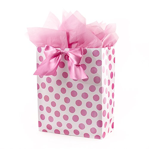 Hallmark Extra Large Gift Bag with Tissue Paper for Birthdays, Baby Showers, Bridal Showers and More (Pink Polka Dots and Bow)]()