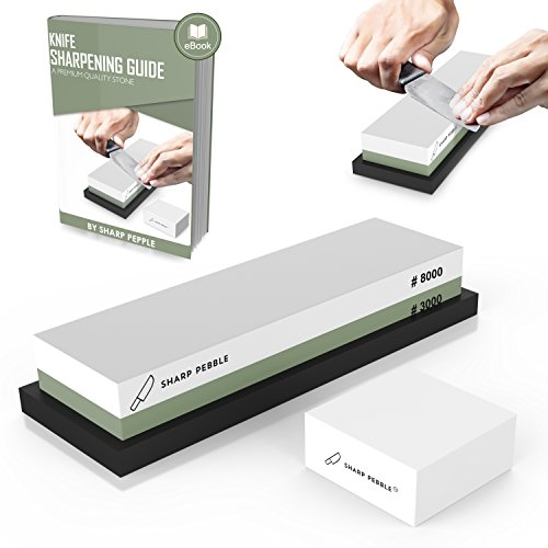 Premium Sharpening Stone 2 Side Grit 3000/8000 Whetstone | Best Kitchen Knife Sharpener Waterstone with NonSlip Rubber Base & Flattening Stone