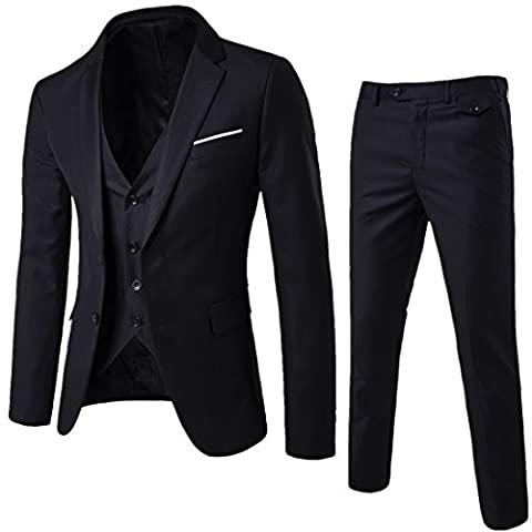 Men's Suit 3-Piece Two Button Vintage Church Suit for Men Black Suit US 38R - Button Fly Suit