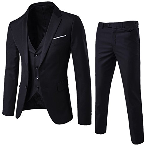 WEEN CHARM Mens Two Button Notch Lapel Slim Fit 3-piece Suit Blazer Jacket Tux Vest & Trousers Set,Black,Large