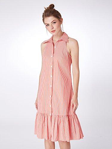 Womens Cou Bouton Revers Robes Bande Ourlet Pelupm Pour Les Femmes 07261 Rouge Et Blanc