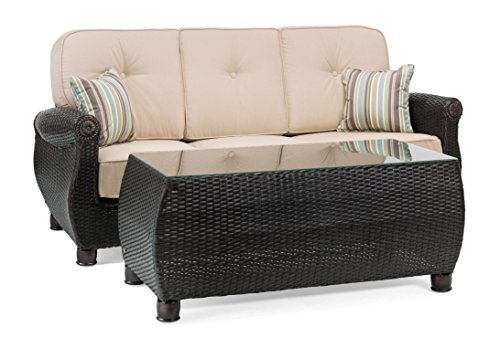 Cheap La-Z-Boy Outdoor Breckenridge Resin Wicker Patio Furniture Sofa with Pillows and Coffee Table Set (Natural Tan) With All Weather Sunbrella Cushions