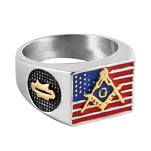 HZMAN Men's Stainless Steel Freemason Symbol Masonic American Flag Ring ()