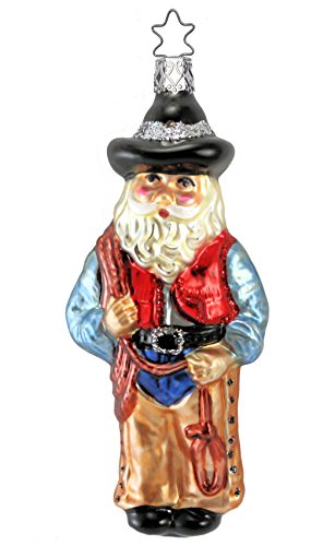 Western Santa Ornament (Inge Glas Western Rodeo Santa 1-006-01 German Blown Glass Christmas Ornament)