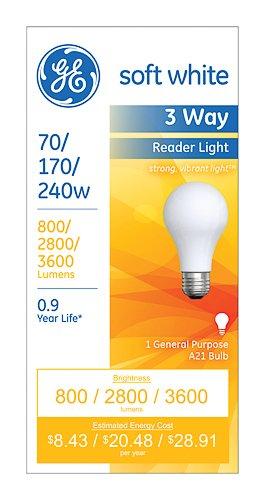 Ge Lighting 15846 Soft White 3 Way A21 Incandescent Light Bulb