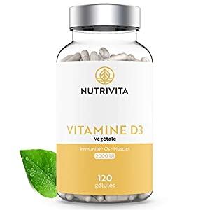 Vitamine D3 2000 UI Cholécalciférol   100% Végétale &Biodisponible   Soutient la Fonction Immunitaire, Osseuse & Musculaire   Cure de 4 mois   120 gélules   Fabriqué en France   Nutrivita