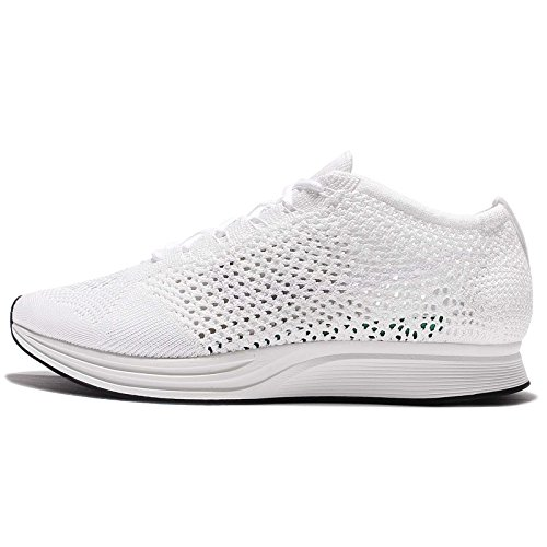 Nike Men Flyknit Racer Running (White/White-sail-Pure Platinum) Size 8.5 US (Nike Flyknit Racer Black White For Sale)