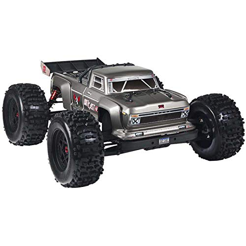 ARRMA Outcast 1/8 Scale BLX Brushless 4WD RC Stunt Truck RTR (6S Lipo Battery Required) with 2.4GHz STX2 Radio, ARA106042T1 (Silver)