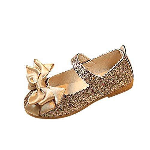 bobo4818 Sandalen MäDchen, Sommer Kinder Kinder Sandalen Mode Große Blumen Mädchen Flache Prinzessin Schuhe mit Bowknot Closure Gold