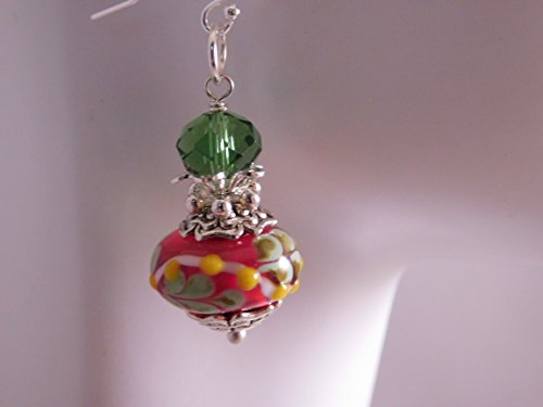 Green and Strawberry Red Lampwork Earrings * Artisan Glass Earrings * Red Green Venetian Earrings * Lampwork Glass Jewelry * ()