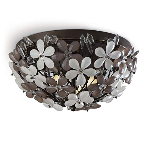 Regina Andrew Cheshire 60 Watt Max Bronze and Crystal 2 Socket Flush Mount Ceiling Pendant Fixture