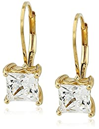 Platinum or Gold Plated Sterling Silver Princess-Cut Swarovski Zirconia Leverback Earrings