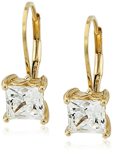 Yellow-Gold Plated Sterling Silver Princess Cut Leverback Earrings made with Swarovski Zirconia (3 cttw)