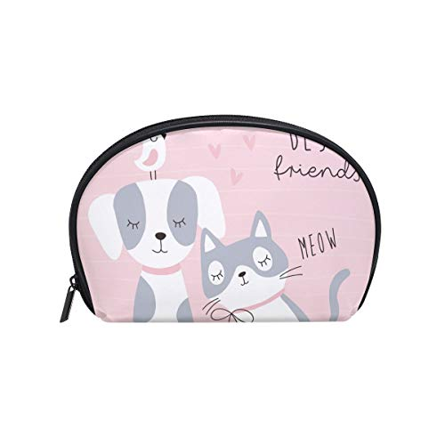 Senya Travel Cosmetic Bag Small Makeup Portable Carry Case Pouch Girls Women Personalized Organizer Tote Bag For Jewelry Toiletries Cute Best Friends Cat Dog Bird -
