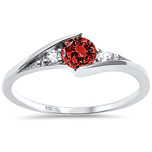 Garnet Solitaire (Sterling Silver New Round Simulated Garnet Solitaire Fashion Ring Sizes 7)