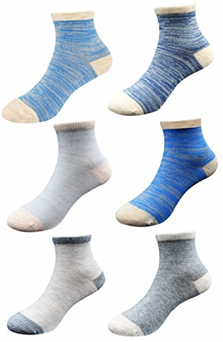 Baby Boys Girls Cotton Basic Socks, Non-Skid Bottom and Hand-linked Toe Seam for Infant, Toddler. Color Assorted.6-12M,1-2T,2-4T,5-8T. By Keewen(6-Pack)