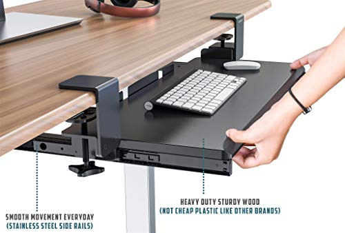 Clamp On Keyboard Tray Office Under Desk Ergonomic Desks Wood Clamps Wrist Rest Pad Mouse Drawer Slides Computer Shelf Table Desktop Extender Pull Out Workstation Platform Large Surface 26 inch by Defy Desk (Image #3)