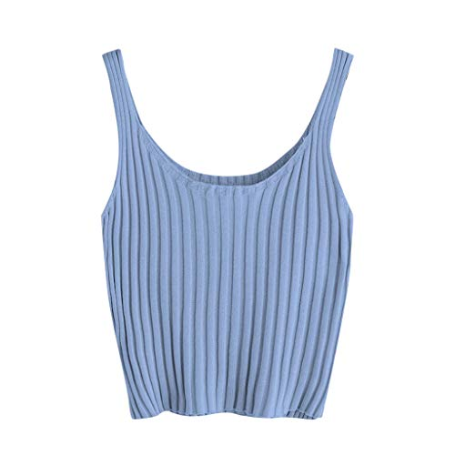 (Women's Casual Sleeveless Ribbed Knit Cami Crop Top Summer Cold Shoulder Camisole Tank Top Sexy Vest Blouse Blue)