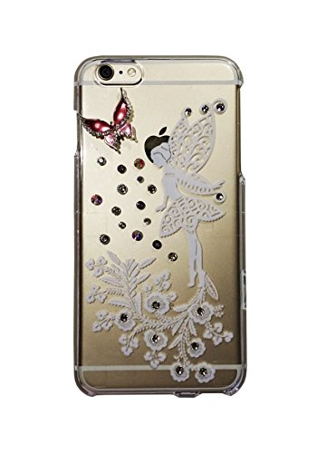For iPhone 6 Printed Fairy Tail and decorated with rhinestones and Butterfly Brooch On Glossy Transparent Clear Candy Skin Cover