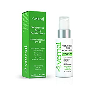 Vernal Anti Aging Face Sunscreen SPF 25. Daily, Lightweight, Sheer, Non-Greasy with No White Residue. Broad Spectrum UVA/UVB Facial Sunscreen For All Skin Types.