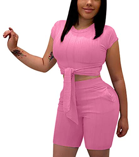 Women's Sexy Two Piece Outfits - Cute Tie Front Crop Top + Skinny Shorts Romper with Pockets Small Pink]()