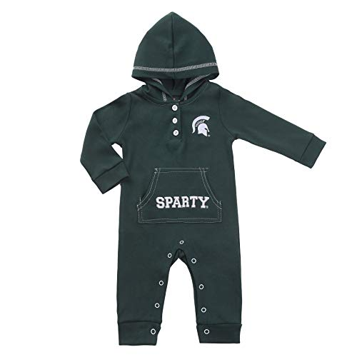 Michigan State Spartan Baby and Toddler Hooded Romper (12M) Green